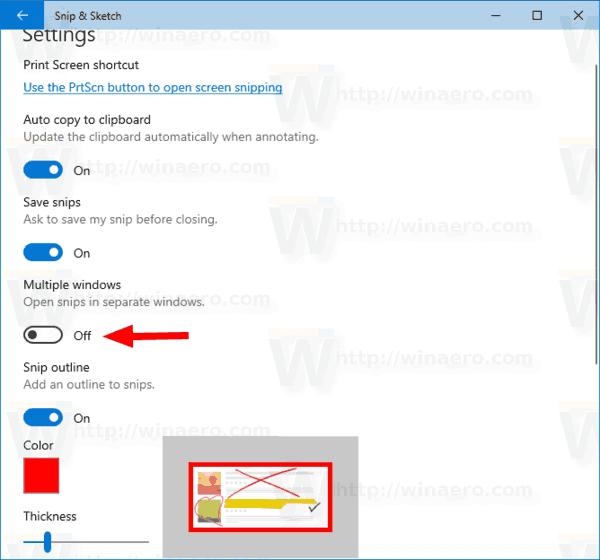 Windows 10 Enable Single Window Mode Snip Sketch