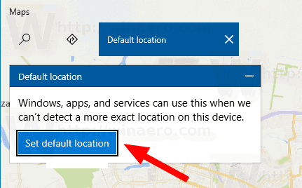 Windows 10 Maps Set Default Location Button