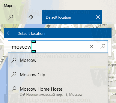 Windows 10 Maps Set Default Location Using Address