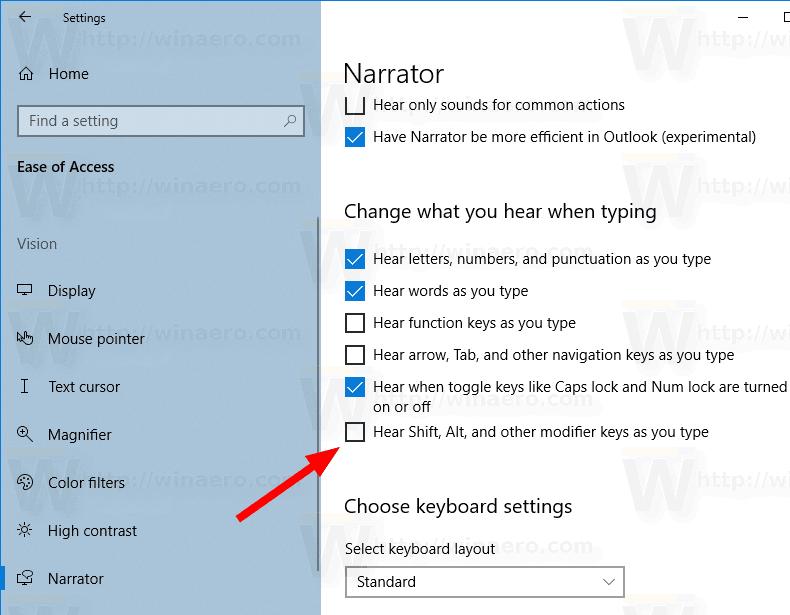 Windows 10 Narrator Announce Modifier Keys