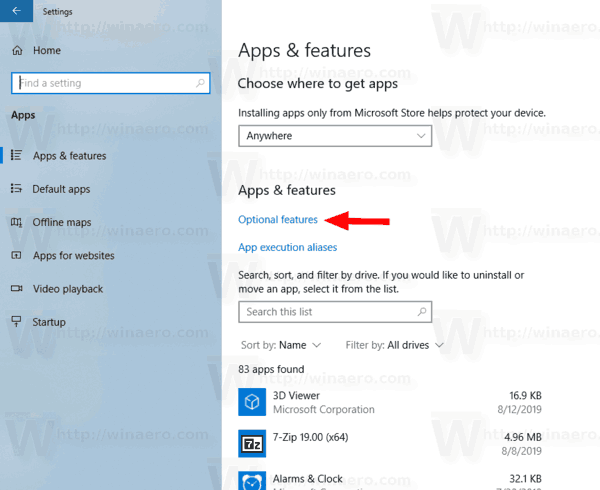 Windows 10 Optional Features Link