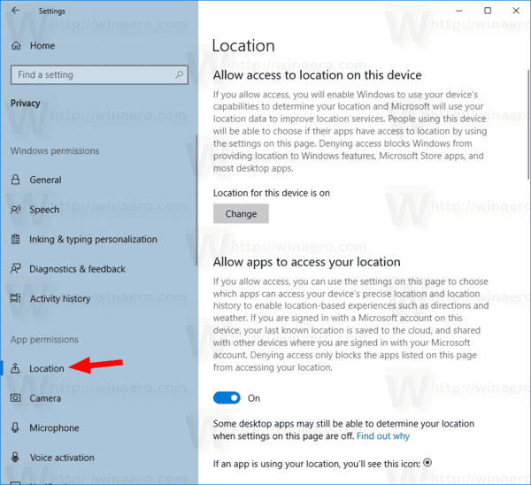 Windows 10 Privacy Location