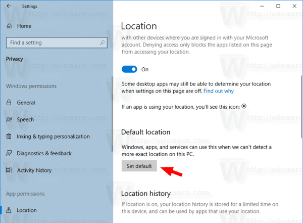 Windows 10 Set Default Location Button