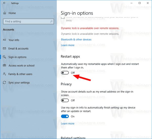 Windows 10 Stop Restarting Apps