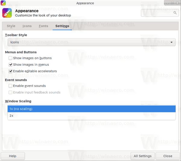 Xfce4 Appearance Window Scaling