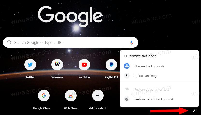 Chrome Default New Tab Page Options