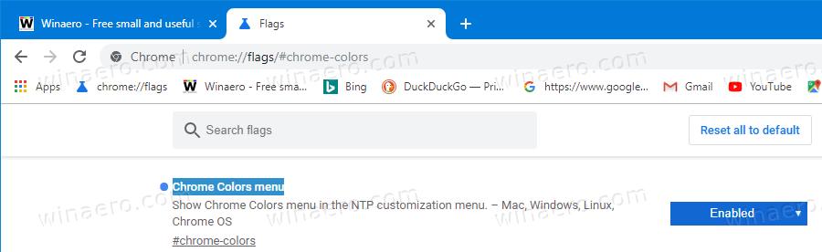 Chrome Enable Chrome Colors Flag