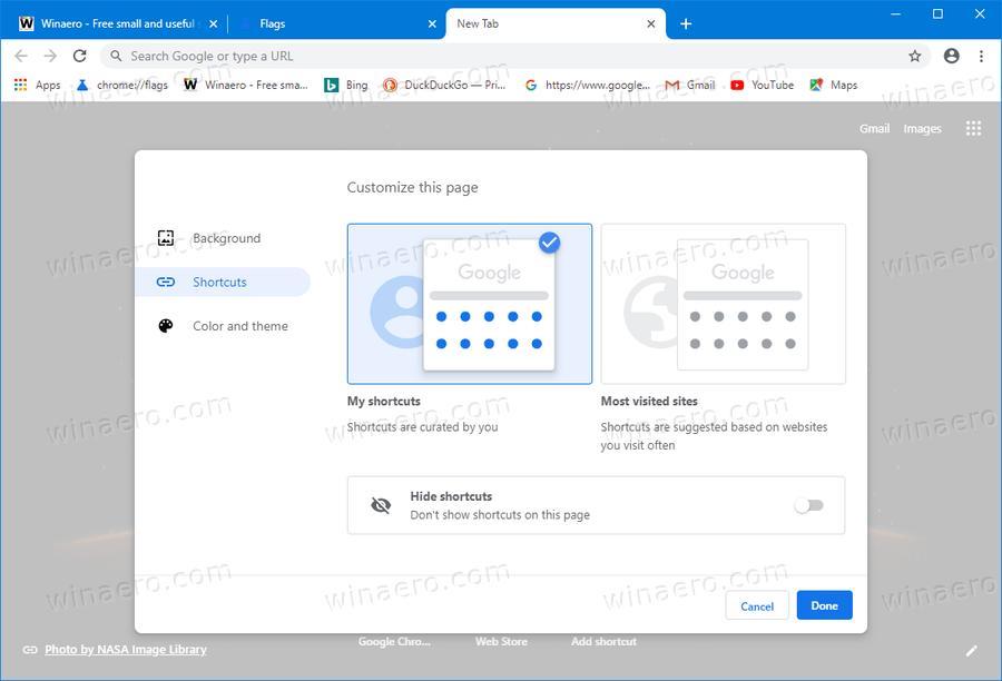 Chrome Modern New Tab Page Options 2