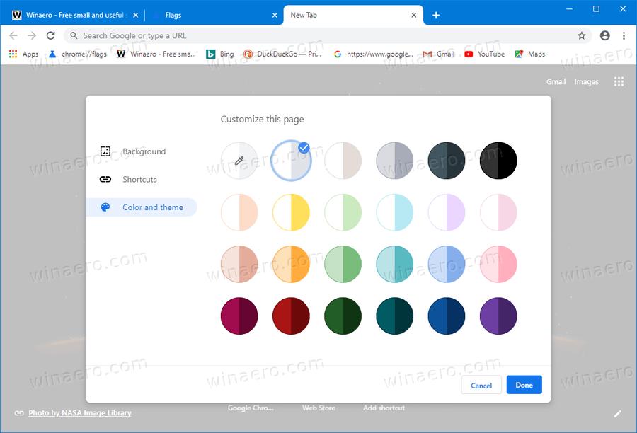 Chrome Modern New Tab Page Options 3