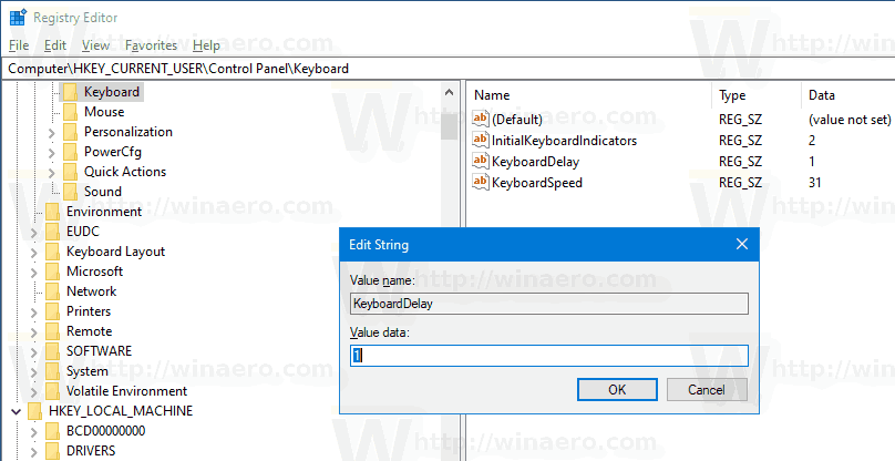 Control Panel Keyboard Delay Tweak