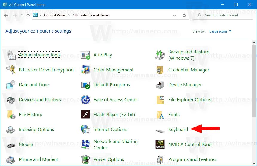 Control Panel Keyboard Icon
