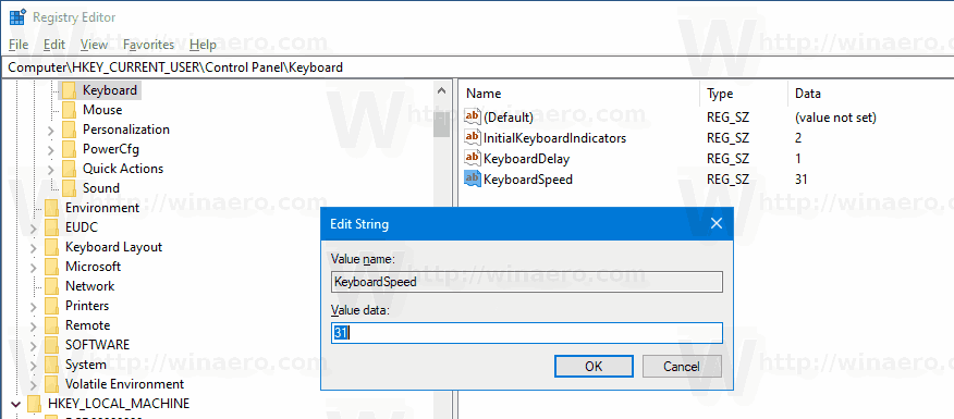 Change Keyboard Repeat Delay and Rate in Windows 10
