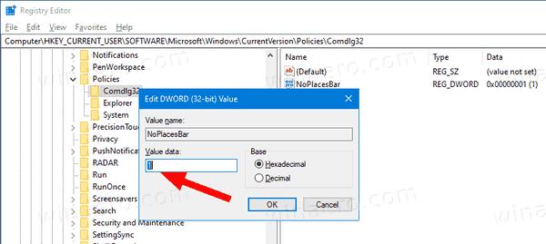 Disable Places Bar In Windows 10 Tweak