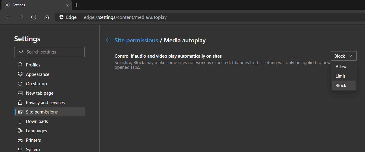 Edge Chromium Media Autoplay