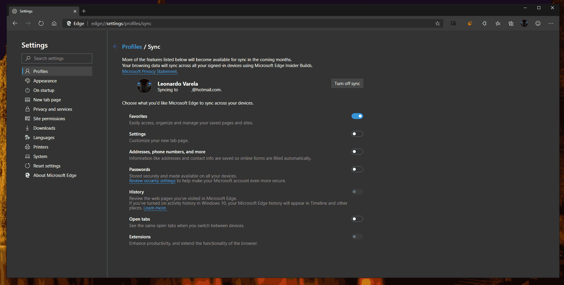Edge Chromium New Sync Settings 1