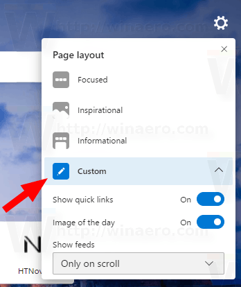 Edge New Tab Page Custom Layout Option