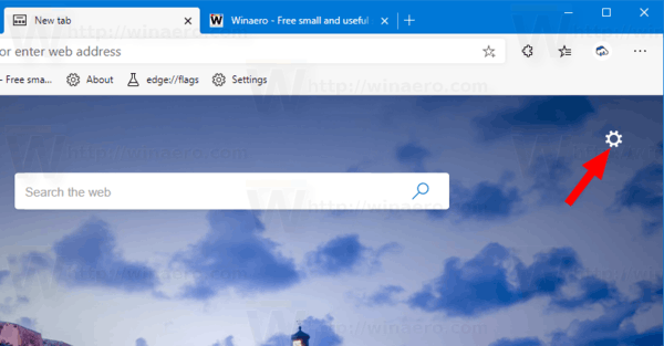 Edge New Tab Page Options Button