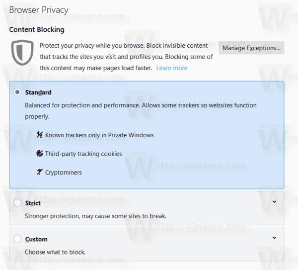 Firefox 69 Content Blocking Options