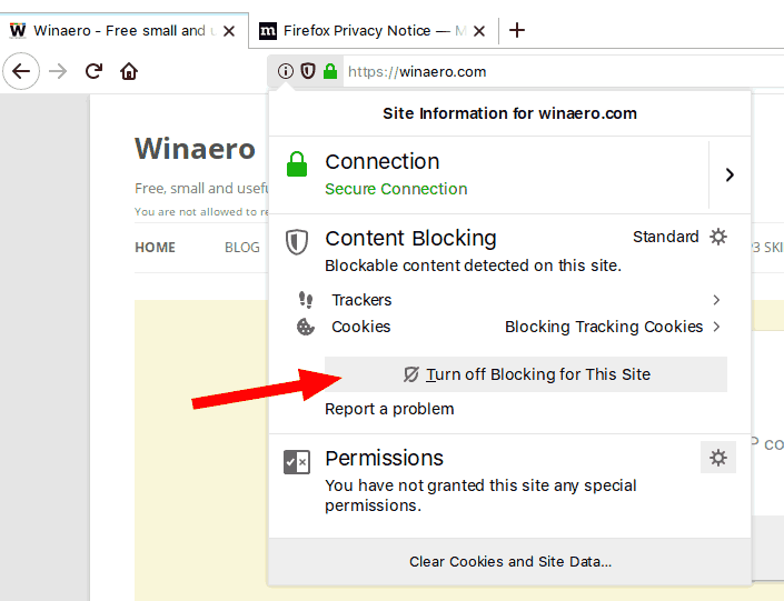 Firefox Disable Content Blocking For A Site