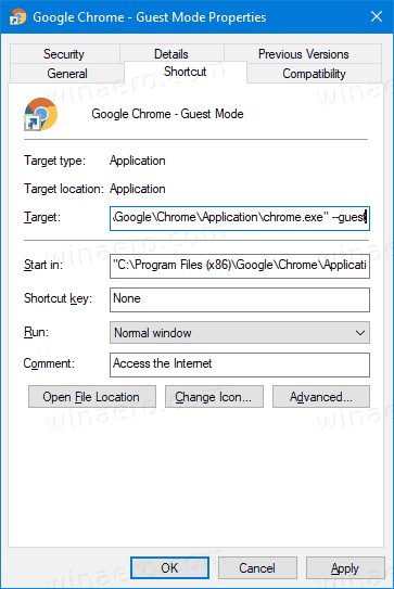 Google Chrome Create Guest Mode Shortcut