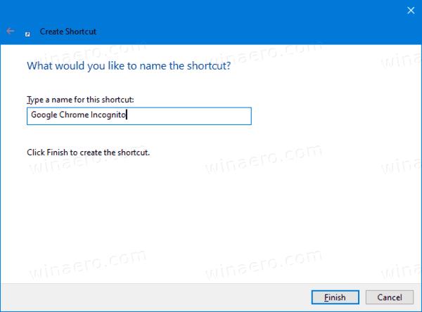 Google Chrome Incognito Mode Shortcut Name
