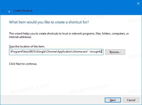Google Chrome Incognito Mode Shortcut Target