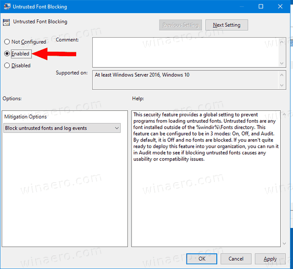 Untrusted Font Blocking Policy 2