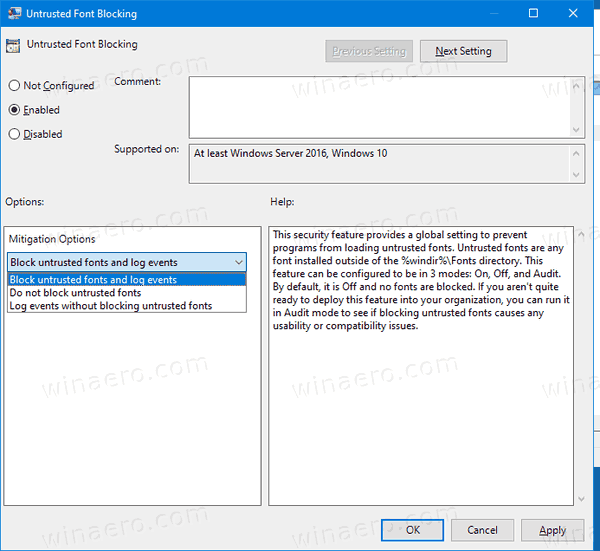 Untrusted Font Blocking Policy 3