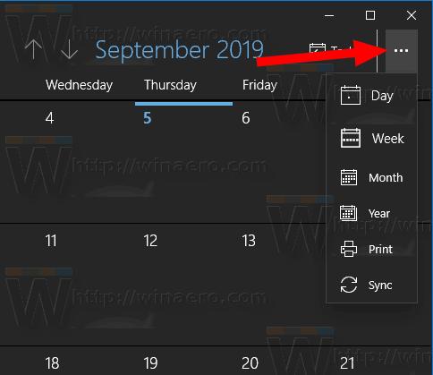 Windows 10 Calendar Menu Button