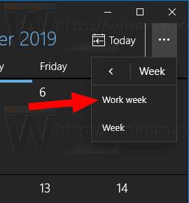 Windows 10 Calendar Set Work Week View
