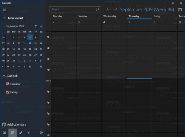 Windows 10 Calendar In Work Week Mode