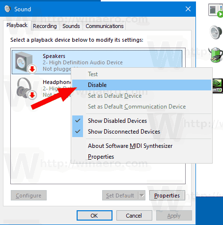 Windows 10 Control Panel Sound Applet Disable Device