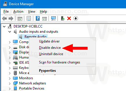 Windows 10 Disable Output Sound Device