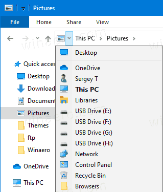 Windows 10 File Explorer Breadcrumbs Nav Buttons 2