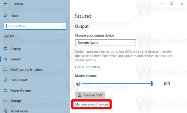 Windows 10 Manage Sound Devices Link