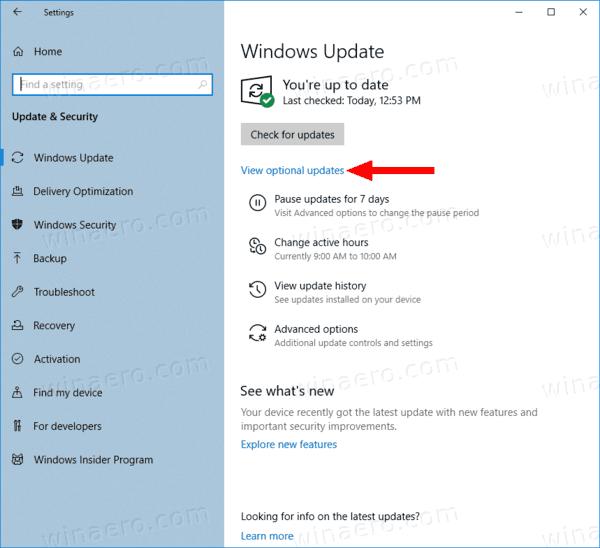 Windows 10 Optional Updates 1