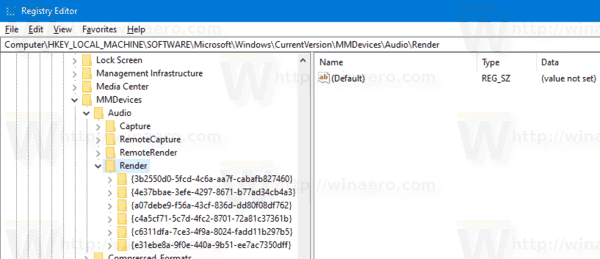 Windows 10 Registry Sound Devices 1