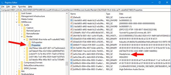 Windows 10 Registry Sound Devices 2