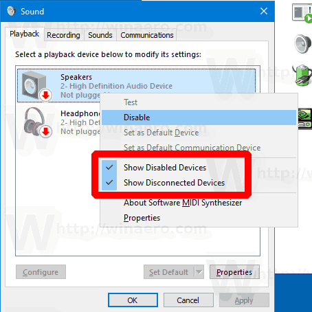 Windows 10 Show Disabled Sound Devices