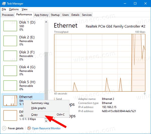 Windows 10 Task Manager Copy Ethernet