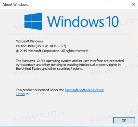 Windows 10 Version 1909 Winver
