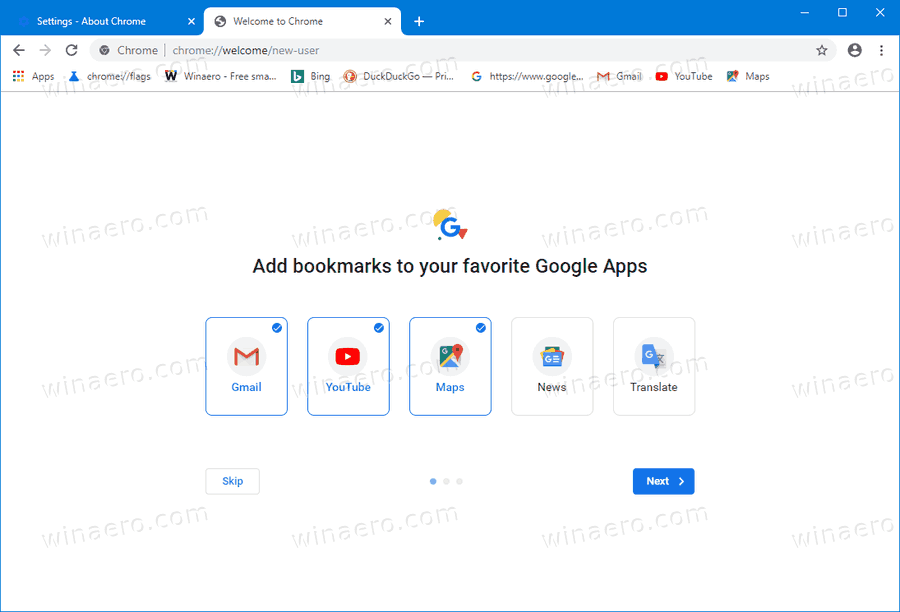 Chrome Welcome Page 2