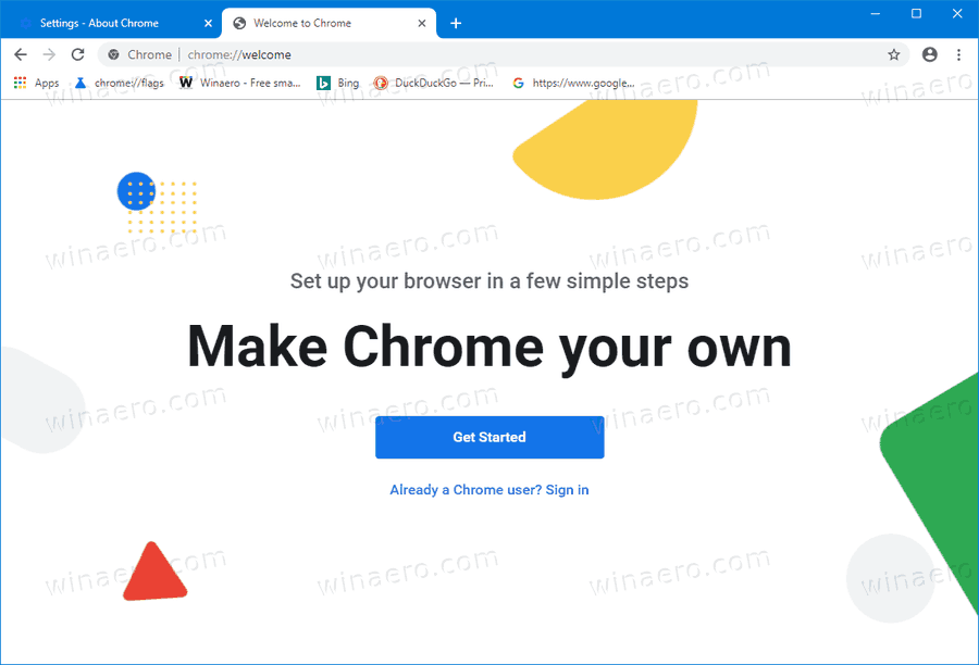 Chrome Welcome Page