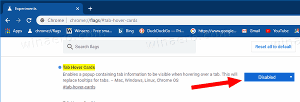 Chrome 78 Disable Tab Hover Cards