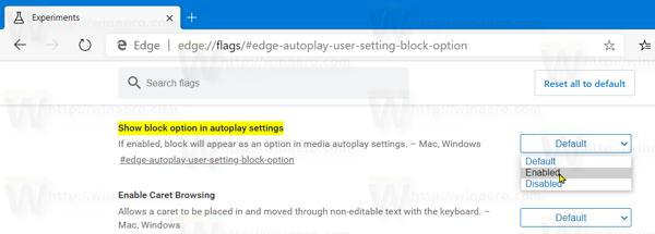 Edge Re Enable Media Autoplay Block Option