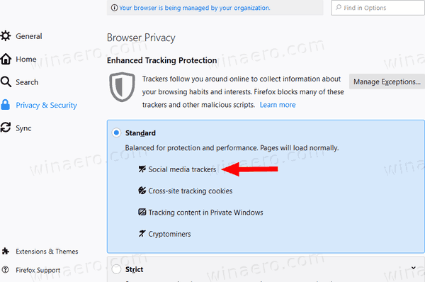 Firefox 70 Enhanced Tracking Protection (ETP)