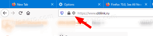 Firefox 70 Geolocation Icon
