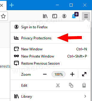 Firefox 70 Privacy Protections Menu