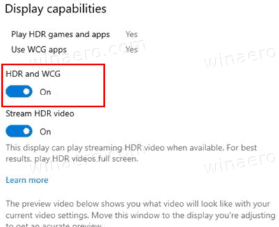 HDR And WCG Color For Display In Windows 10