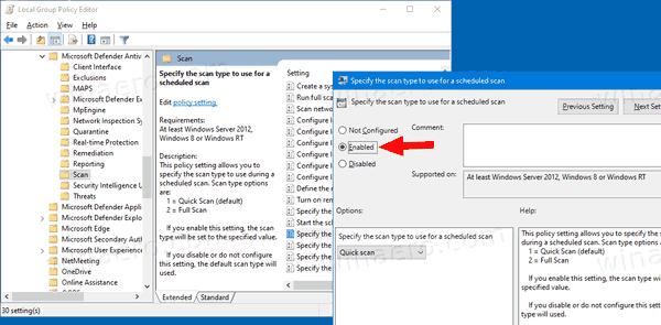 Windows 10 Change Scheduled Scan Type For Defender GP1